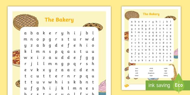 The Bakery Aistear Word Search
