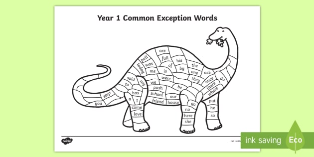 year 1 common exception words colouring dinosaur worksheet year 1 reading. Black Bedroom Furniture Sets. Home Design Ideas