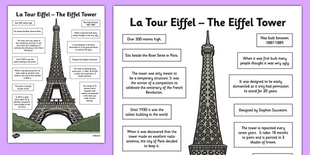 Eiffel Tower Fact Sheet - CfE, second Level, landmarks, Paris, France, Eiffel Tower, fact sheet, monuments