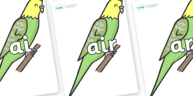 Phase 3 Phonemes on Budgies - Phonemes, phoneme, Phase 3, Phase three, Foundation, Literacy, Letters and Sounds, DfES, display