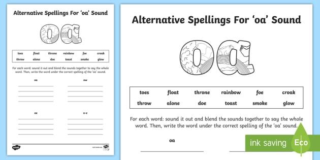 Alternative Spelling For oa Sound Worksheet