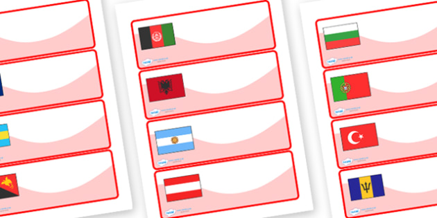 Flags of the World Drawer Peg Name Labels - flags of the world, name labels, draw and peg name label, draw labels, peg labels, draw peg name labels