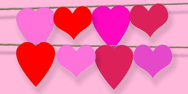 Heart Shape Bunting - heart, valentine's, love, cupid, bunting