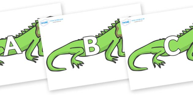 A-Z Alphabet on Iguanas - A-Z, A4, display, Alphabet frieze, Display letters, Letter posters, A-Z letters, Alphabet flashcards