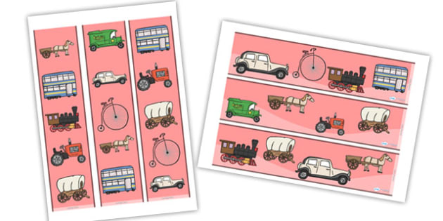 Old Transport Display Borders - Display border, classroom border, border, car, van, lorry, bike, motorbike, plane, aeroplane, tractor, truck, bus