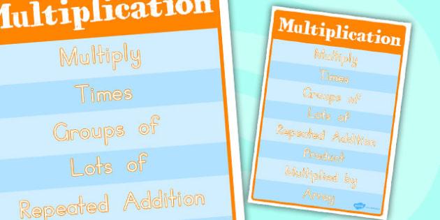 Multiplication Vocabulary Poster - australia, multiplication
