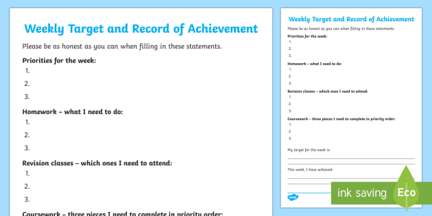 Weekly Target And Record Of Achievement Young People