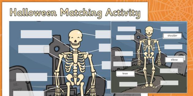 Halloween Matching Worksheet / Activity Sheet Skeleton - halloween, matching, activity, match, sheet, skeleton, worksheet