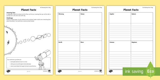 planet facts worksheet worksheet solar system space information ks1. Black Bedroom Furniture Sets. Home Design Ideas