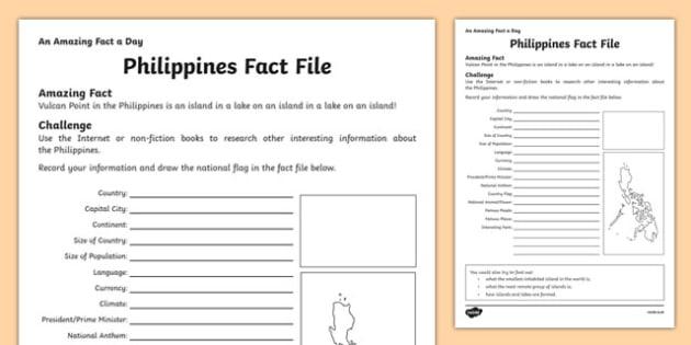 Philippines Fact File Activity Sheet, worksheet