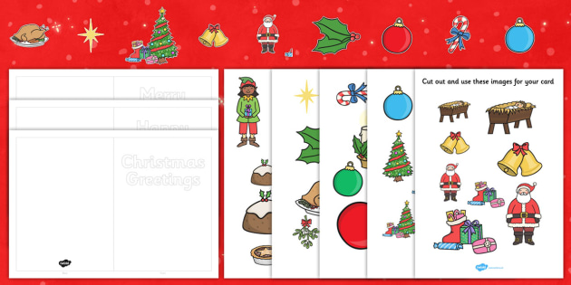 Make Your Own Christmas Cards (Cut Outs) - Christmas, xmas, Happy Christmas, tree, cards, card, flashcards, cut outs, cutting, cut, make your own christmas card, advent, nativity, santa, father christmas, Jesus, tree, stocking, present, activity, cra