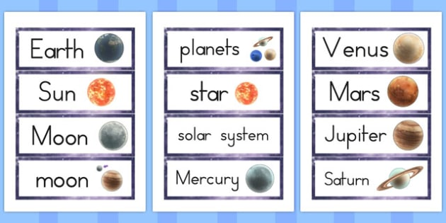 Year 5 Earth and Space Word Cards - australia, space, cards