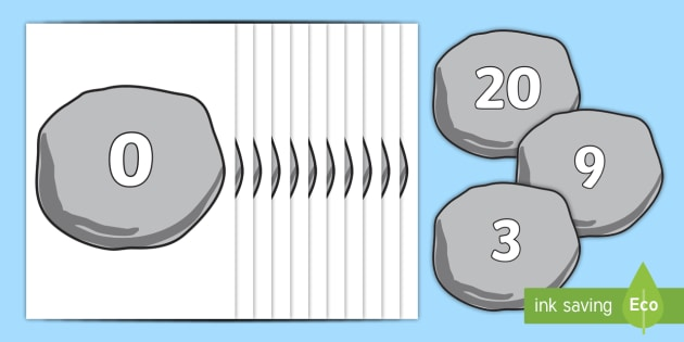 Numbers 0-20 On Pebbles - pebbles, pebble display, numbers 0-20, number recognition, number flashcards