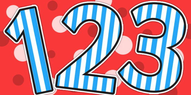 Blue Striped Themed A4 Display Numbers - display, numbers, stripe