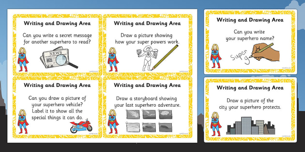 EYFS Superhero Themed Writing and Drawing Area Challenge Cards