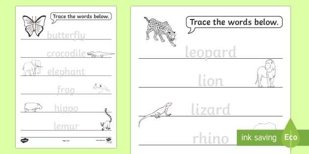Jungle Animals Trace The Words Worksheet Activity Sheet Esl
