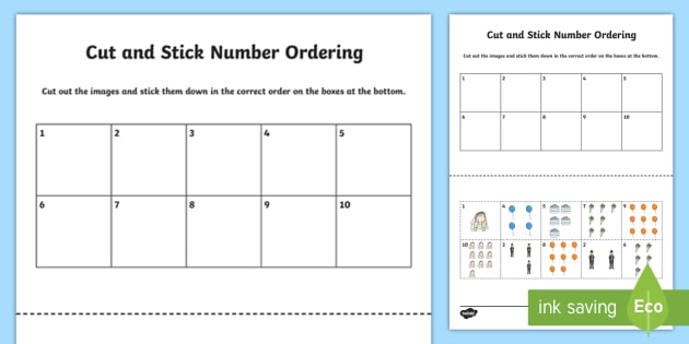 Celebration Themed Cut and Stick Number Ordering Sheets 0-10 ...