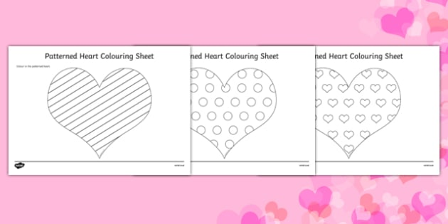 Valentine's Day Patterned Hearts Colouring Sheets - valentines