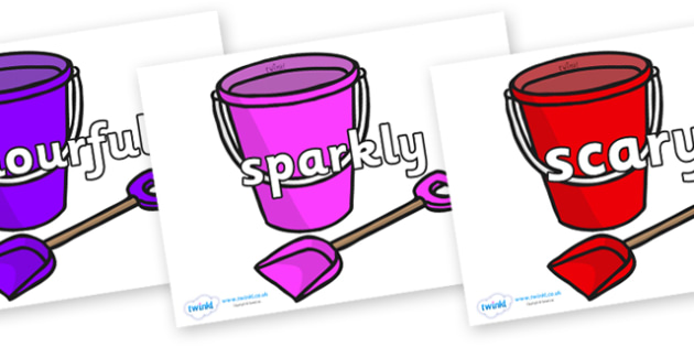 Wow Words on Spade and Buckets - Wow words, adjectives, VCOP, describing, Wow, display, poster, wow display, tasty, scary, ugly, beautiful, colourful sharp, bouncy