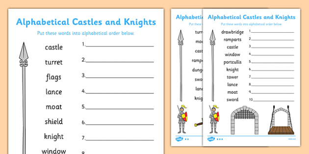Castles And Knights Alphabet Ordering Differentiated Worksheet