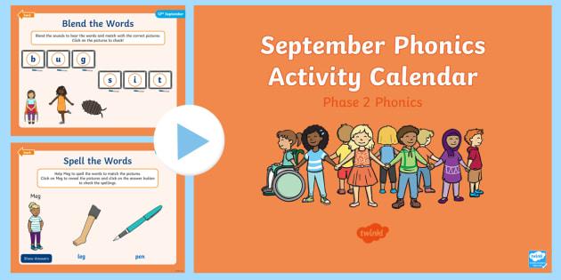 Phase 2 September Phonics Activity Calendar PowerPoint - Reading, Spelling, Game, Starter, Sounds