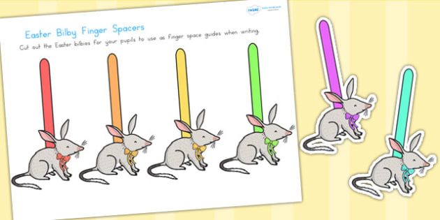 Easter Bilby Finger Spaces - easter, bilby, easter bilby, writing