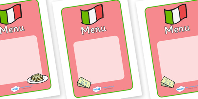 Italian Restaurant Role Play Display Banner - Italian restaurant, role play, menu, writing frame, writing template, writing aid, pasta, lasagne, food, Italian culture, Italy, spaghetti, menu