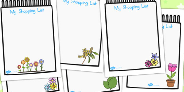 Role Play Shopping List - activities, activity, games, game