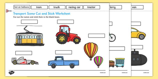 Transport Scene Labelling Cut and Stick Worksheet - transport