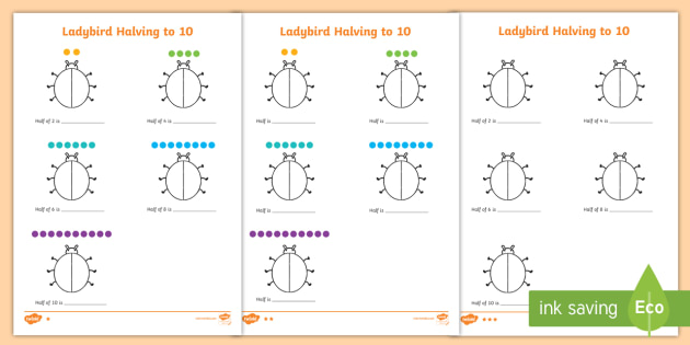 Differentiated Halving to 10 Ladybird Worksheet / Worksheet ...