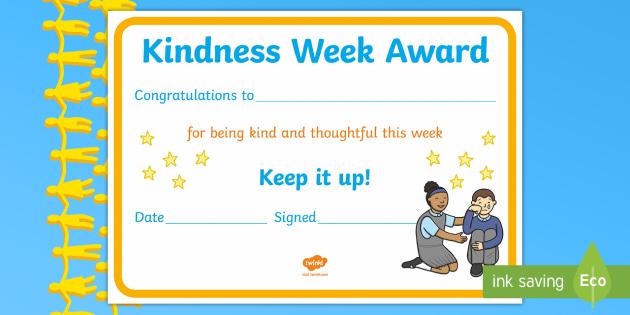 FREE! - KS1 Kindness Week Certificate - Twinkl Kindness ...