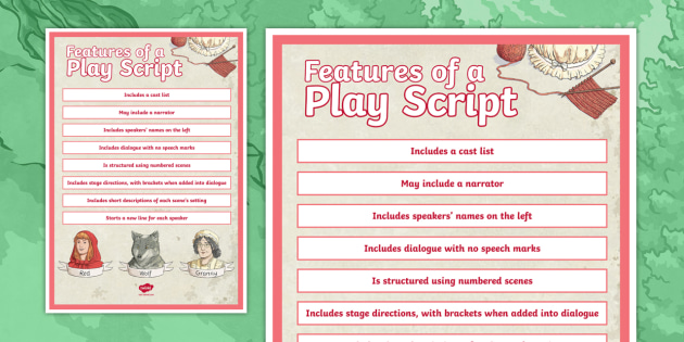 Features Of A Play Script Display Poster For Key Stage 2