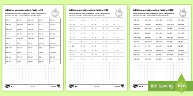 addition and subtraction facts to 50 100 1000 question speed test worksheet. Black Bedroom Furniture Sets. Home Design Ideas