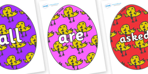 Tricky Words on Easter Eggs (Chicks) - Tricky words, DfES Letters and Sounds, Letters and sounds, display, words