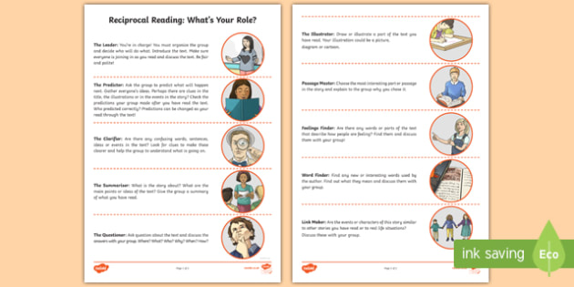 CfE Reciprocal Reading   What's Your Role? Pupil Information Sheet-Scottish