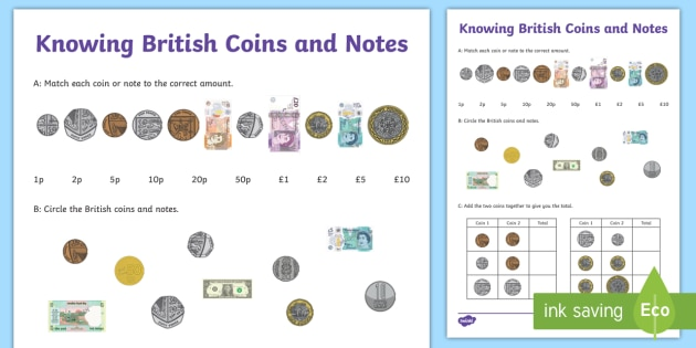 knowing british coins and notes worksheet worksheet learning from home. Black Bedroom Furniture Sets. Home Design Ideas