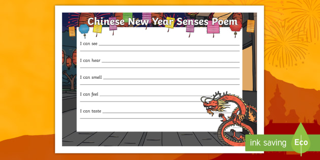 Chinese New Year Senses Poem - Crispy Spring Rolls Recipe Cards