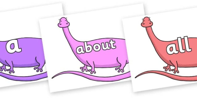 100 High Frequency Words on Anchisaurus - High frequency words, hfw, DfES Letters and Sounds, Letters and Sounds, display words