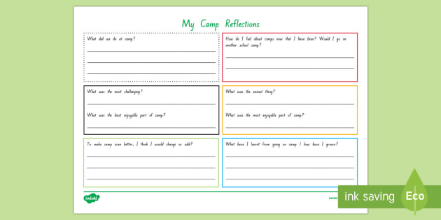 camp reflection worksheet activity sheet new zealand back to schoolcamp - Reflection Worksheet