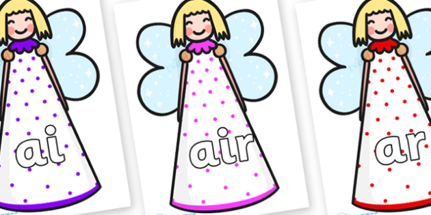Phase 3 Phonemes on Christmas Angels - Phonemes, phoneme, Phase 3, Phase three, Foundation, Literacy, Letters and Sounds, DfES, display