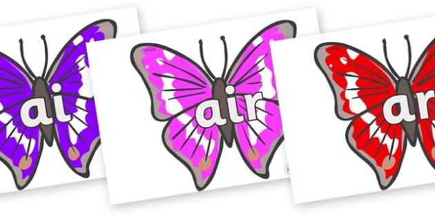 Phase 3 Phonemes on Emperor Butterflies - Phonemes, phoneme, Phase 3, Phase three, Foundation, Literacy, Letters and Sounds, DfES, display