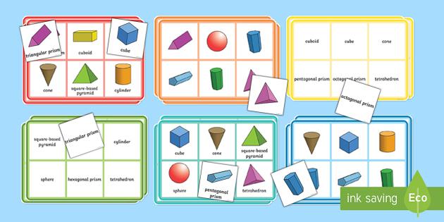 3D Shape Properties Bingo