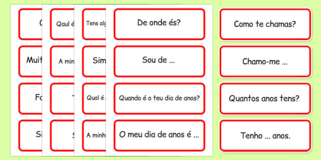 Basic Phrases Word Cards Portuguese - portuguese, basic phrases, word cards, word, cards, basic, phrase