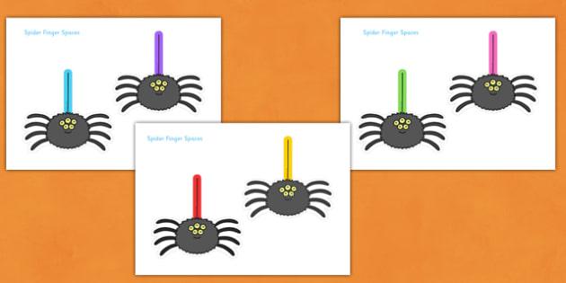 Finger Spacing Spiders - finger spacing spiders, spacing, finger, spider, spiders, Finger spacers, finger space, writing aid, minibeast, sentence structure, finger, space, writing space, space aid, finger space aid, minibeast, halloween