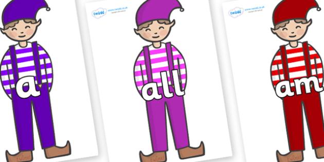 Foundation Stage 2 Keywords on Elf (Boy) - FS2, CLL, keywords, Communication language and literacy,  Display, Key words, high frequency words, foundation stage literacy, DfES Letters and Sounds, Letters and Sounds, spelling