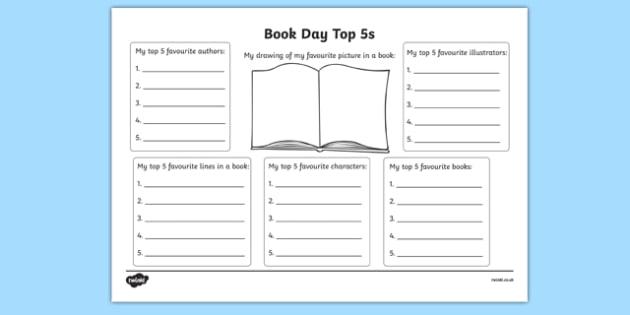 Book Day Top 5s Activity Sheet, worksheet