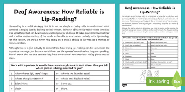 Deaf Awareness How Reliable is Lip Reading? Activity