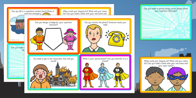 Superhero Role Play Challenge Cards - challenge cards, superhero