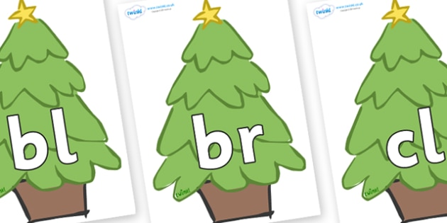 Initial Letter Blends on Christmas Trees (Plain) - Initial Letters, initial letter, letter blend, letter blends, consonant, consonants, digraph, trigraph, literacy, alphabet, letters, foundation stage literacy