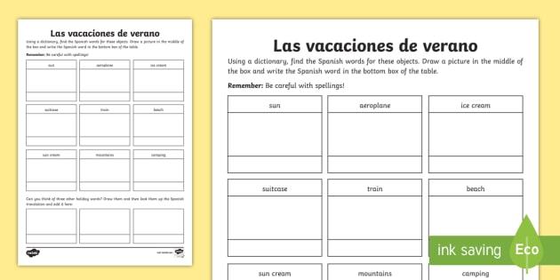 spanish holiday words dictionary worksheet activity sheet. Black Bedroom Furniture Sets. Home Design Ideas